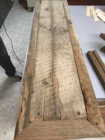 An old oak barn wood plank with oak barn wood framing and mitre cuts