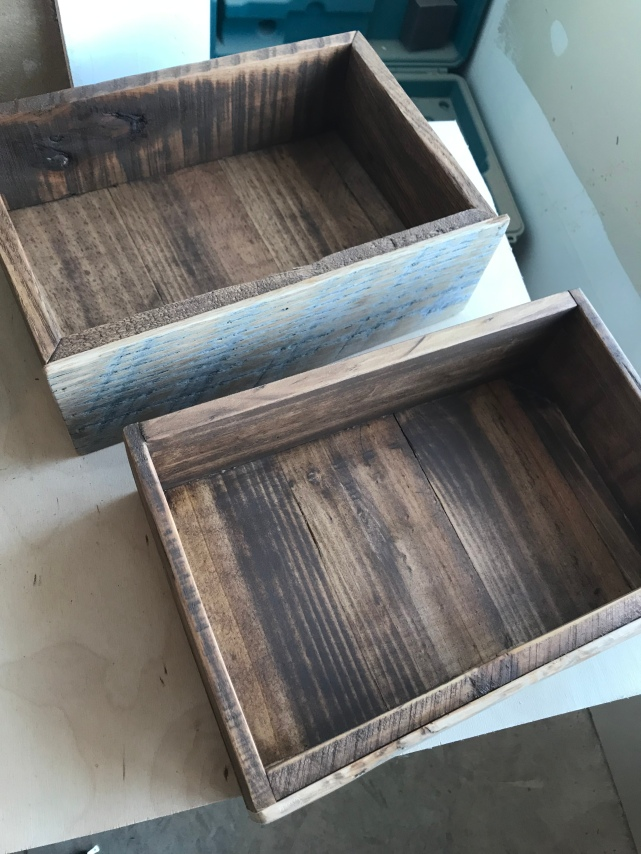 Two dark stained drawer boxes