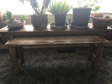 Two nesting oak barn wood benches sitting in front of a large backlit window with the larger bench holding five plants