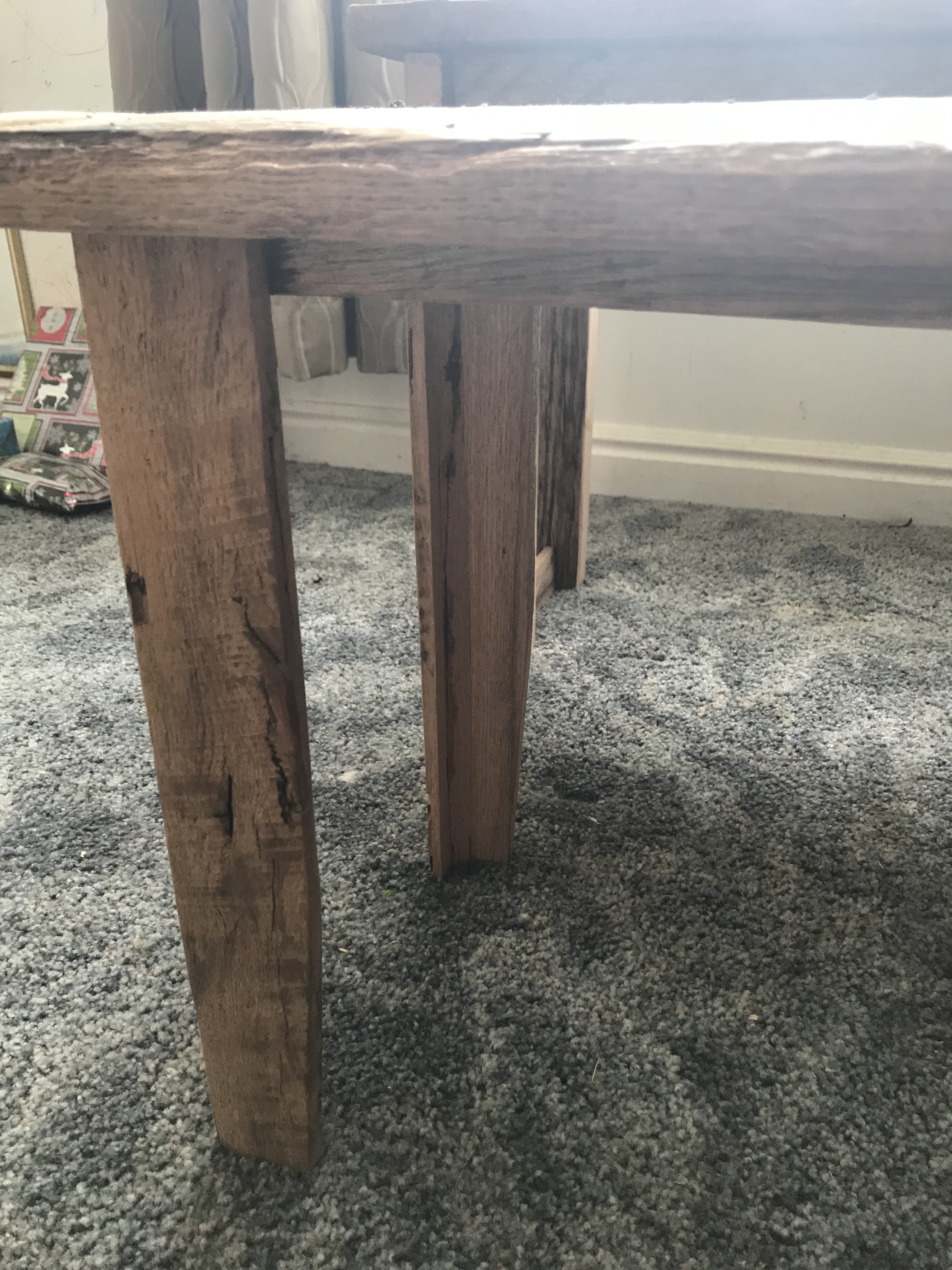 Slay styled Oak barn wood bench legs with a taper at the bottom
