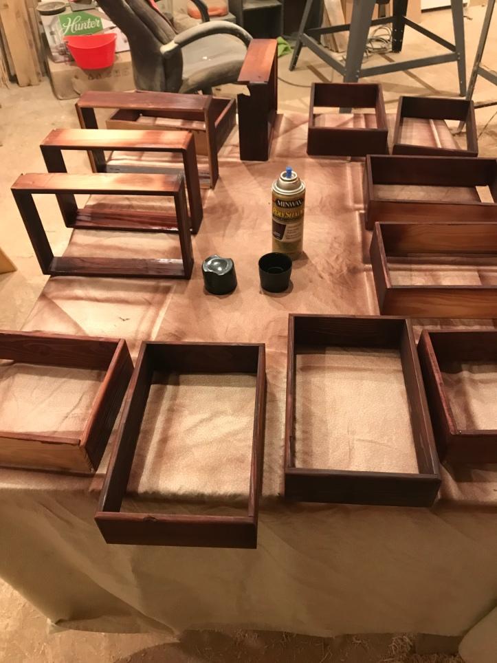 drawer box frames partially sprayed with minwax polyshades bombay mahogany