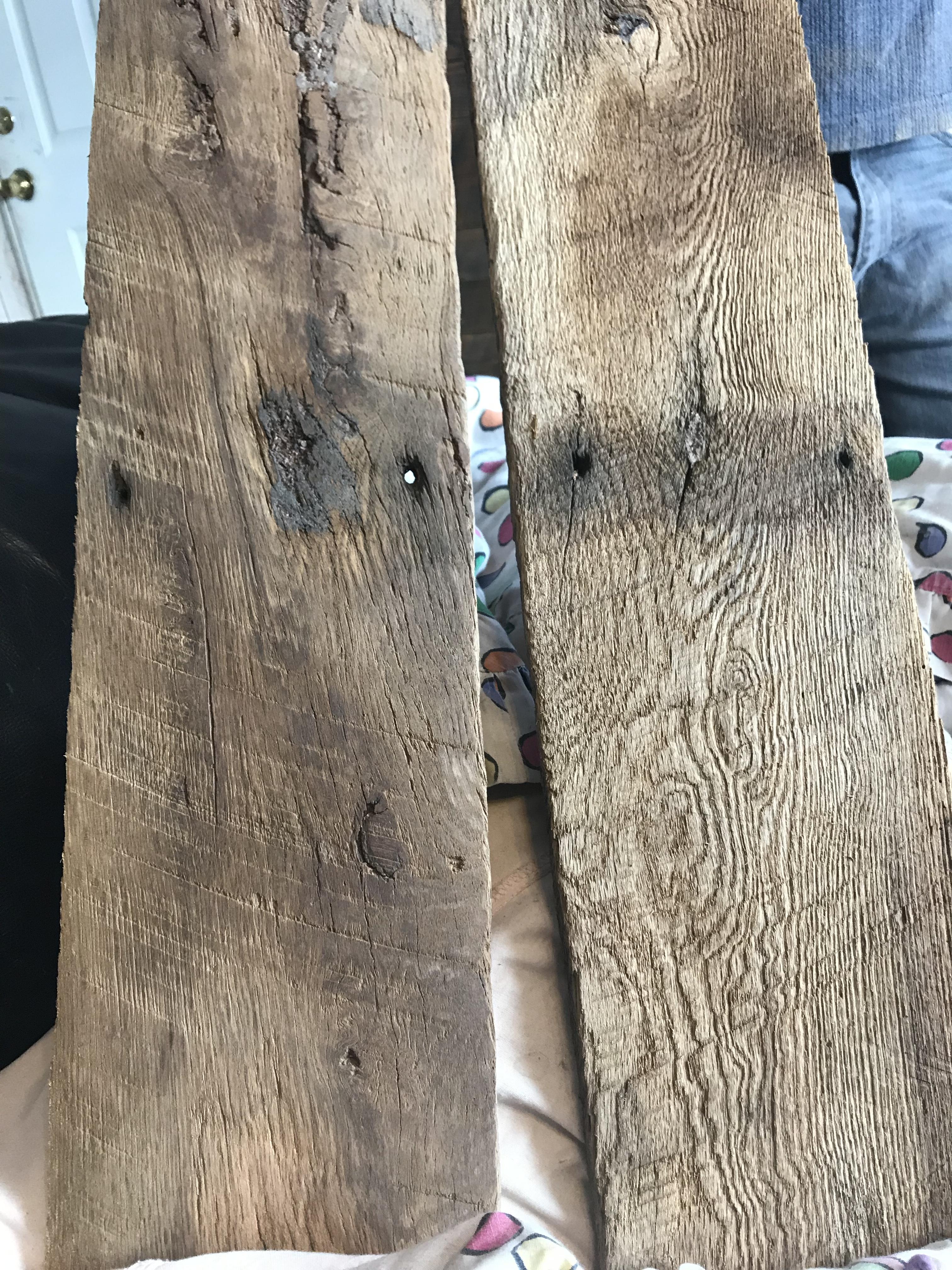 Reclaimed oak barn wood cut in a book match