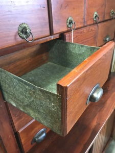 Antique oak apothecary drawer box with a metal frame