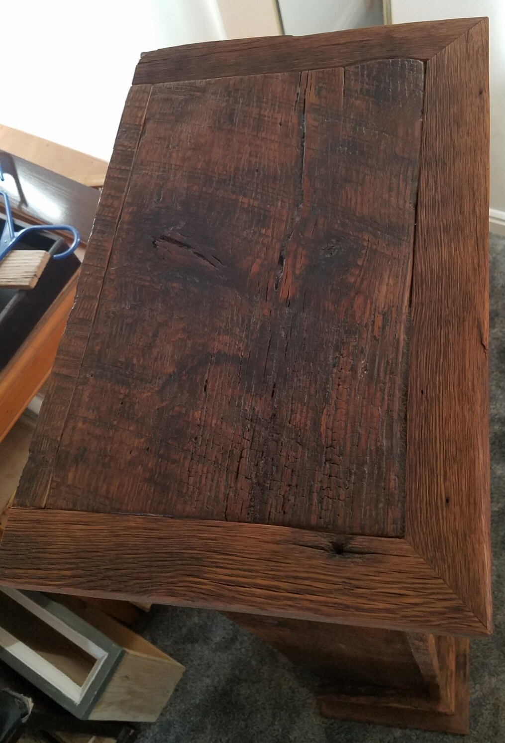 Reclaimed oak apothecary cabinet top with saw tooth marks