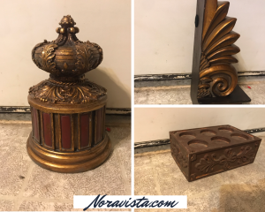 A picture collage of 3 golden and brown home decor pieces; one a medium sized container, one a candle holder with six spots for candles, and one book end