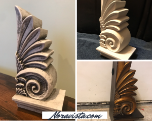 A photo collage of a gold French floral book end, then painted off white, then waxed black in the crevices