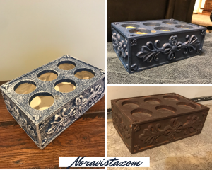 A photo collage of a gold six place candle holder box, the painted blue, then dry brushed white