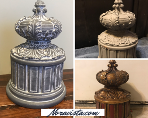 A photo collage of a gold and red French round box with a highly decorative lid, painted gray and then waxed white in the crevices