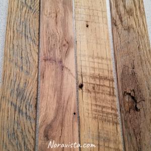 Reclaimed oak barn wood sanded sitting on a table