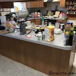 A messy kitchen