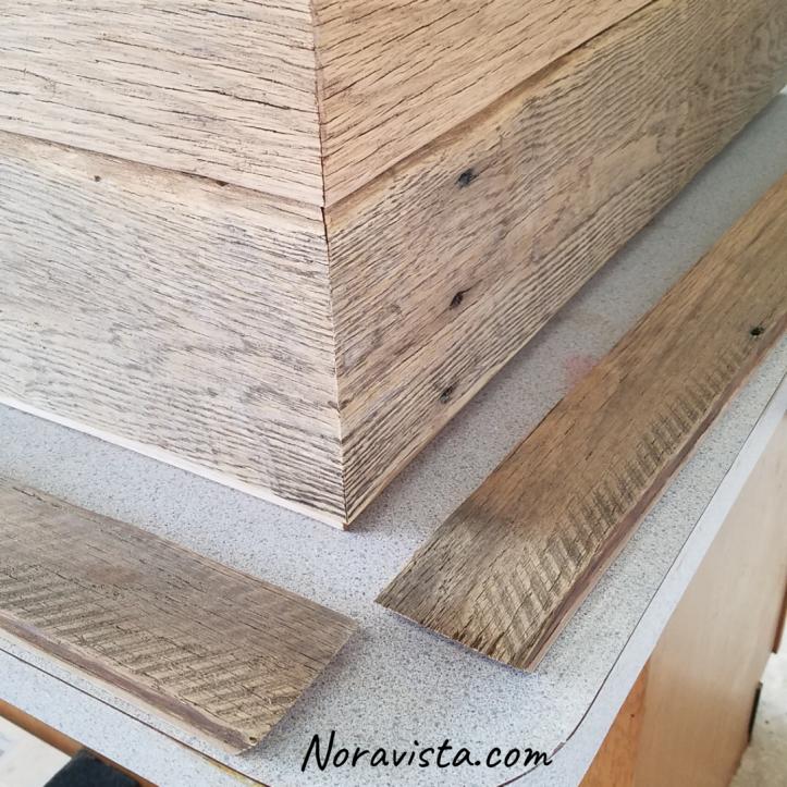 Reclaimed oak barn wood dresser corner with a waterfall cut