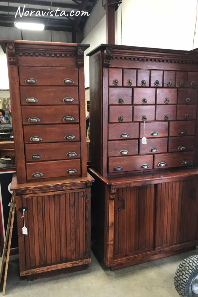 Antique furniture at a vintage fair