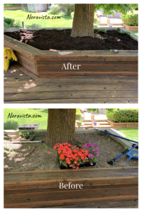 A flower bed before and after with new potting soil