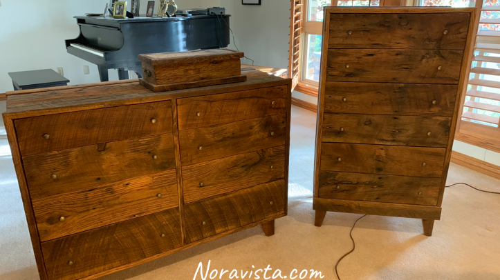 Two matching mid century modern dressers made from oak reclaimed barn wood with brass pulls