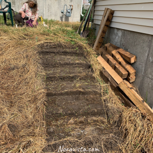 A hill with the foundation for stairs dig out next to a well house