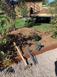 Landscaping shrubs box with the tools used in front of it